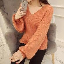 2016 Korean autumn spring new loose sweater female sleeve head bubble sleeve large heart-shaped V neck knit shirt