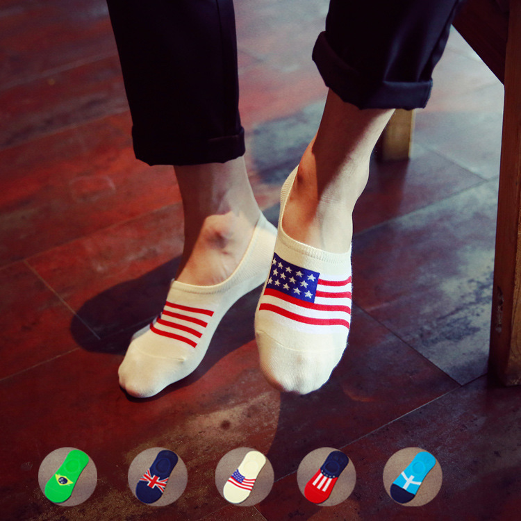 Silica Gel Non-slip Man Invisible Socks Full Cotton Fashion National Flag Pattern Shallow Marine Socks Male Socks 1pair=2pcsws80