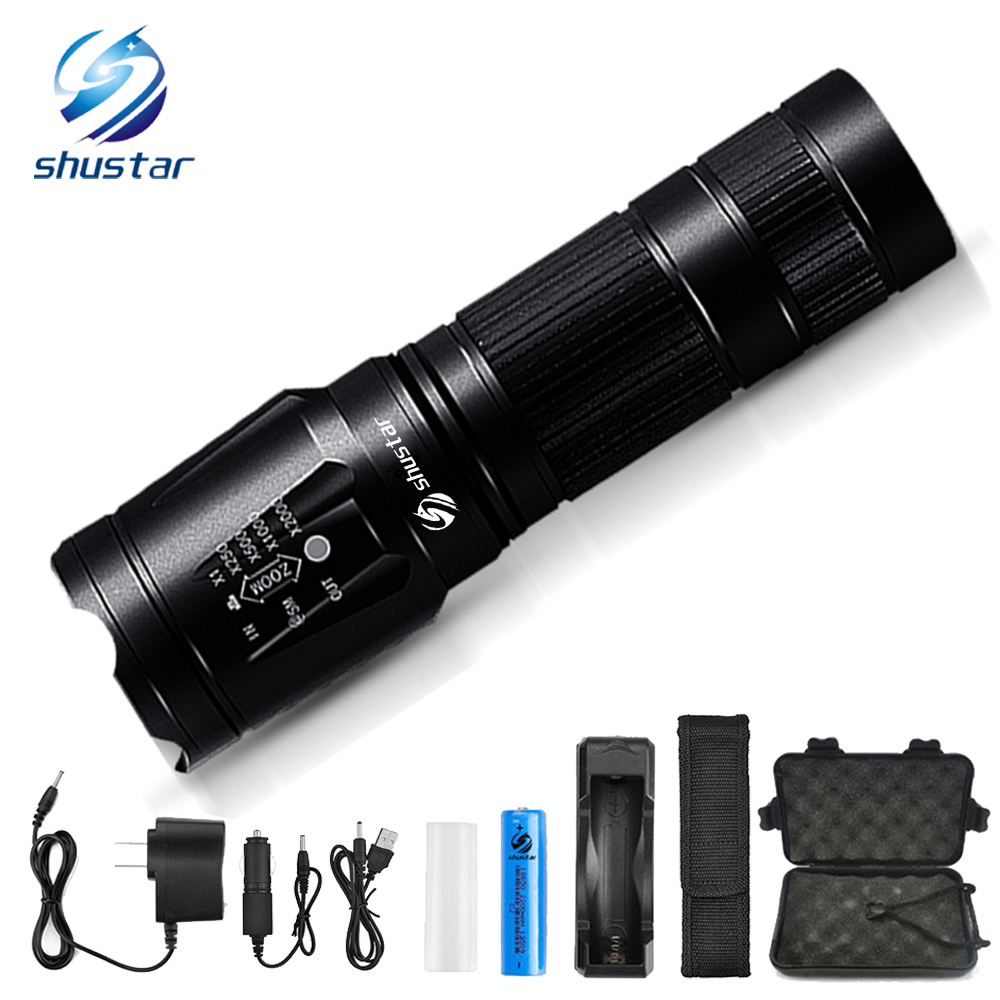 Powerful led flashlight T6/L2 8000 lumens led torch Waterproof flashlight 3 modes Zoomable led torch use 26650 18650 battery led flashlight 200 meter zoomable led torch light 18650 3 modes waterproof bike lihgt linternas portable tactical flashlight