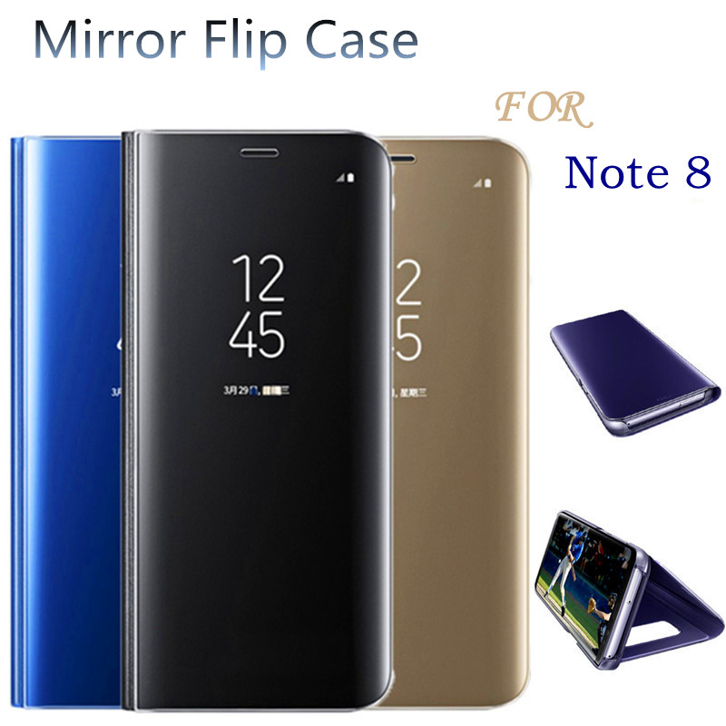 newest ea71e a9956 US $4.99 |For Samsung Galaxy Note 8 Clear View Mirror Case For note 8  Electroplated Mirror Flip Smart Sleep Leather Cover-in Flip Cases from ...