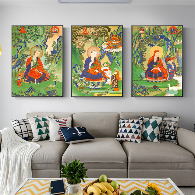 Wall Art Poster Buddha Bodhisattva Hanging Abstract Canvas Pictures For Living Room Decoration Zen Home Decor Cuadros