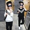 Otoño 2016 de los niños ropa niñas pantalones de traje informal estilo de la marina de rayas de dos piezas del juego de pista más el tamaño caliente venta