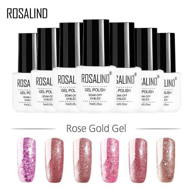 ROSALIND GEL 1S Nail Polish Rose Gold Series Nail Art Manicure Nail Gel Polish Glitter Semi Permanent Soak off UV Gel Lacquer