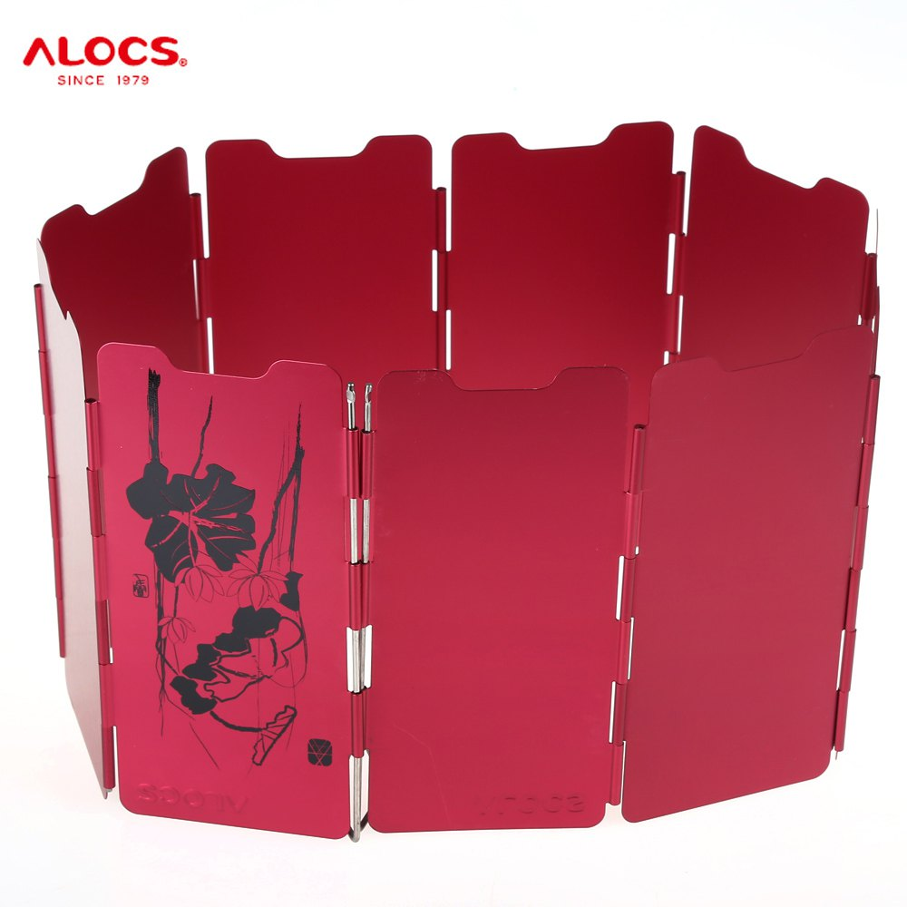 ALOCS CS-B05 Aluminum Alloy 9-piece Wind Screen Windshield Heat Resistent Stove Fender Board for Outdoor Camping - Season Serial