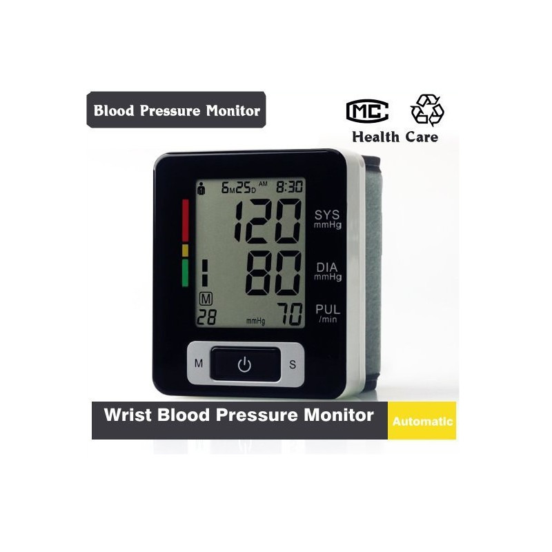 Automatic Wrist Blood Pressure monitor Heart Beat Meter Machine LCD digital display Accurately measure Battery operation