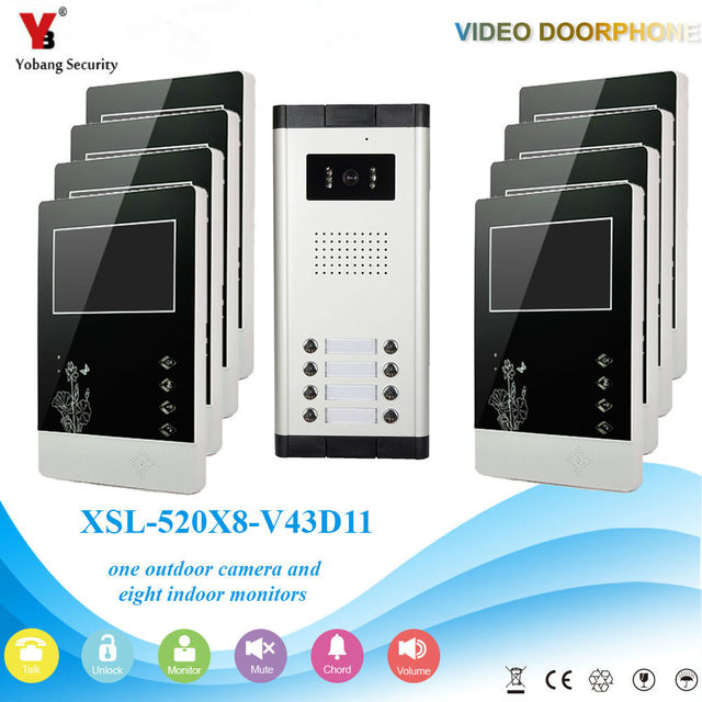 Yobang Security 4 3 Video Door Entry Intercom System For 8 Floor Apartment Building Doorbell Phone Interphone