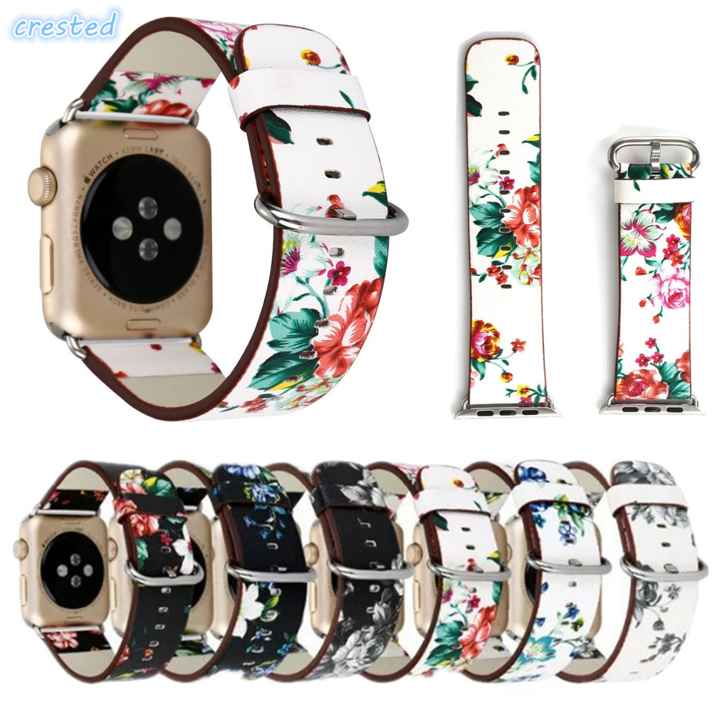 CRESTED genuine leather watch strap for apple watch band 42 mm/ 38 wristwatch Bracelet for iwatch band 1/2 Edition with adapter see through mesh patchwork bodycon dress