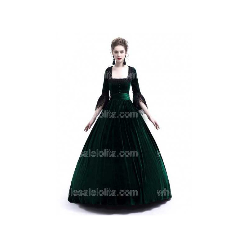 Green Velvet Ball Gown Dress Marie Antoinette Queen Theatrical Victorian Dress Stage Costume Dress