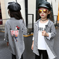 white black striped blouses for girls character long blouses and shirts coats clothes for school girls autumn fall 2016 clothes