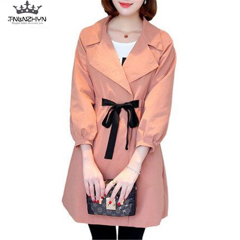 TNLNZHYN 2019 Spring Women   Trench   Coat 100% Cotton Thin Medium Long   Trench   Coat Casual Loose Big Yards Windbreaker Outwear SK386