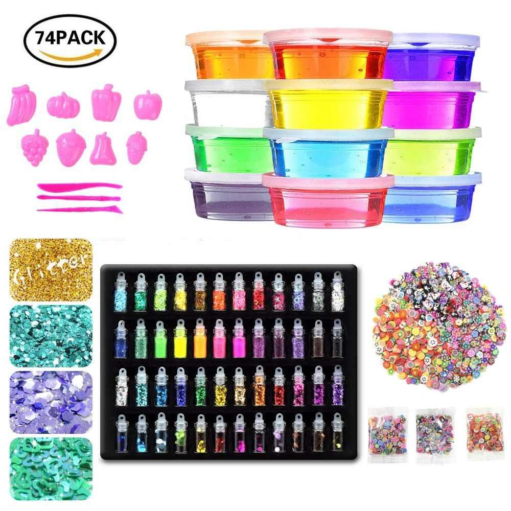 34329f161 Fluffy Slime Kit,12 Colors Slime Supplies Gifts for kids DIY Kit & Adult  Sensory