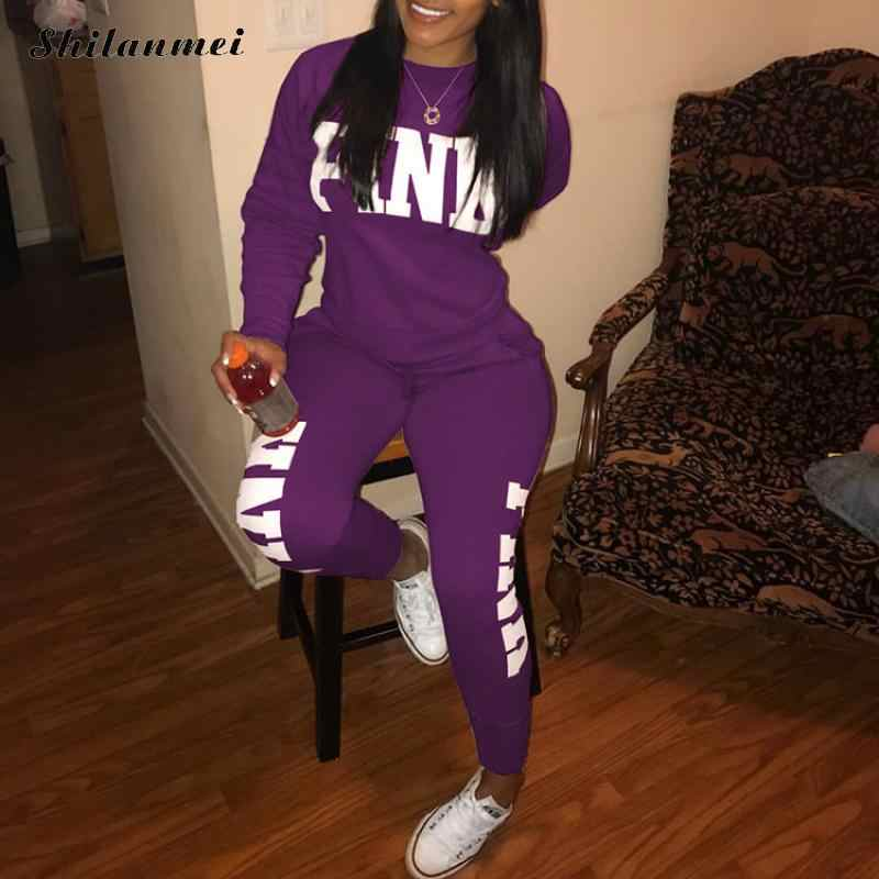 123f25a9f8f Detail Feedback Questions about Pink Letter Print 2 Piece Set Women Top And  Pants Sexy Casual Suit Sweatshirt Two Piece Sweatshirt Tracksuit 2018 Plus  Size ...