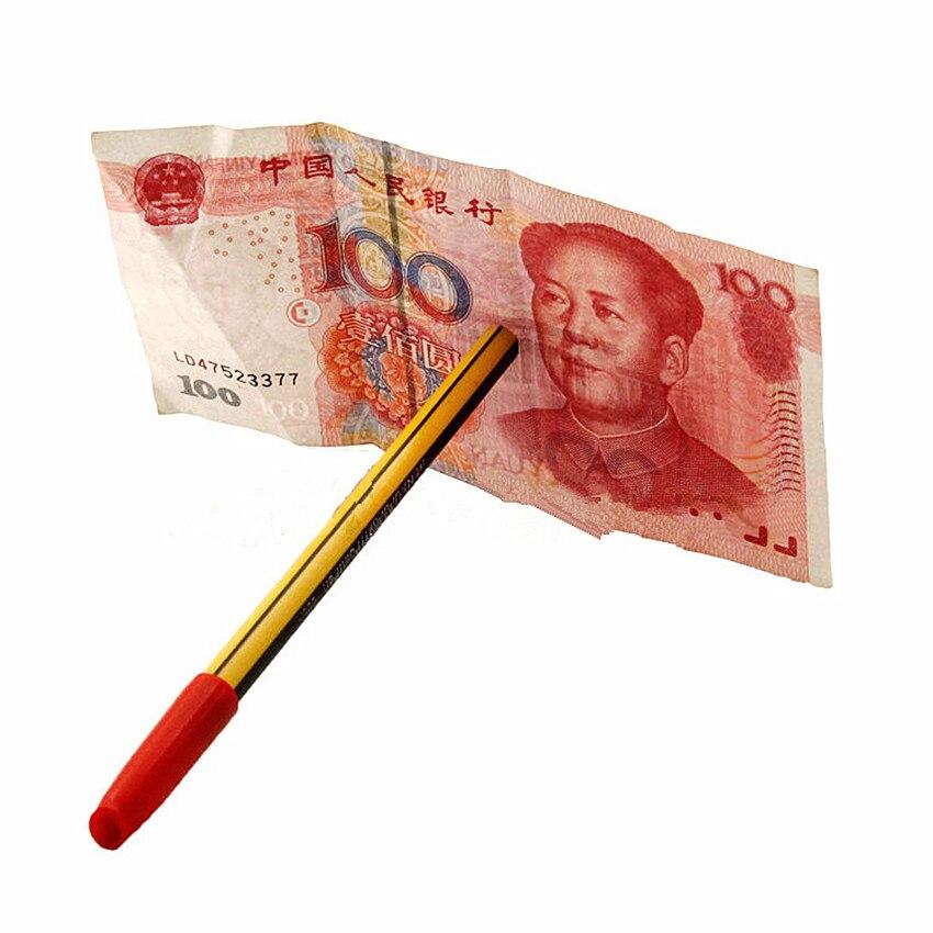 1PCS Magic Ball Pen Brand Black GagsToy Thru Bill Penetration Dollar Bill Pen Trick Close Up Magic Trick Classic Gags Toys