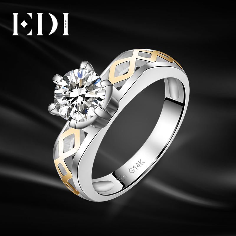 EDI Solitaire Moissanite Diamond Wedding Rings For Women 14k 585 Yellow White Gold Engagement Bands Christmas Gifts Fine JewelryEDI Solitaire Moissanite Diamond Wedding Rings For Women 14k 585 Yellow White Gold Engagement Bands Christmas Gifts Fine Jewelry