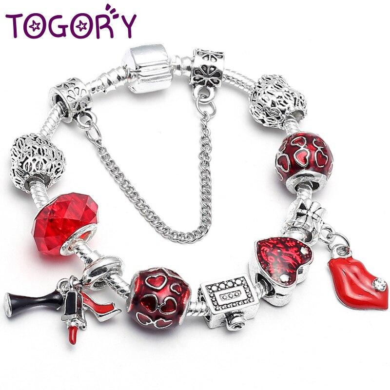 TOGORY New Charm Bracelets & Bangles Women Jewelry Red Sexy Lips Pendant Handmade Fine Bracelet for Lover Gift Dropshipping пандора браслет с шармами