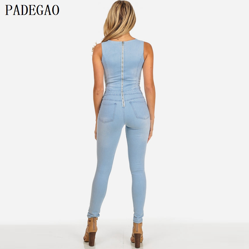 453fda2eee PADEGAO light blue bandage denim jumpsuit corn lace up autumn winter women  bodysuit sexy sleeveless rompers overalls jumpsuits-in Jumpsuits from  Women s ...