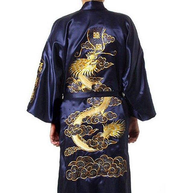 Бесплатная Доставка Китайских женщин Шелковый Атлас Одеяние Вышивка Кимоно Ванна Платье Дракон Sml XL XXL XXXL S0009