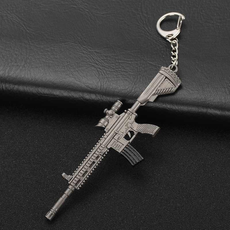 موضة لعبة المفاتيح AK47 رشاش VSS قناص بندقية M416 رصاصة قلادة الرجال مفتاح سلسلة أفضل هدية تذكارية سبيكة حلقة رئيسية