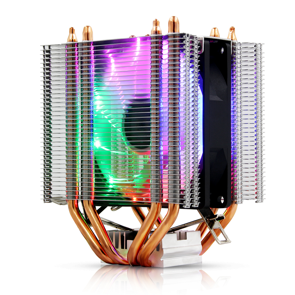 3Pin/4Pin RGB LED CPU Cooler 4-Heatpipe Dual Tower Fan Cooling Heatsink Radiator for Intel LGA 1150/1151/1155/1156/775/1366 AMD image