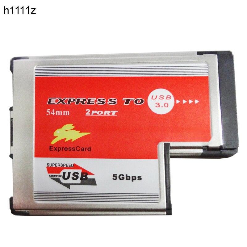 2 Dual Ports USB 3.0 HUB Express Card ExpressCard 54mm Hidden Inside USB3.0 Adapter ASMedia ASM1042 Chip For Laptop Notebook NEW