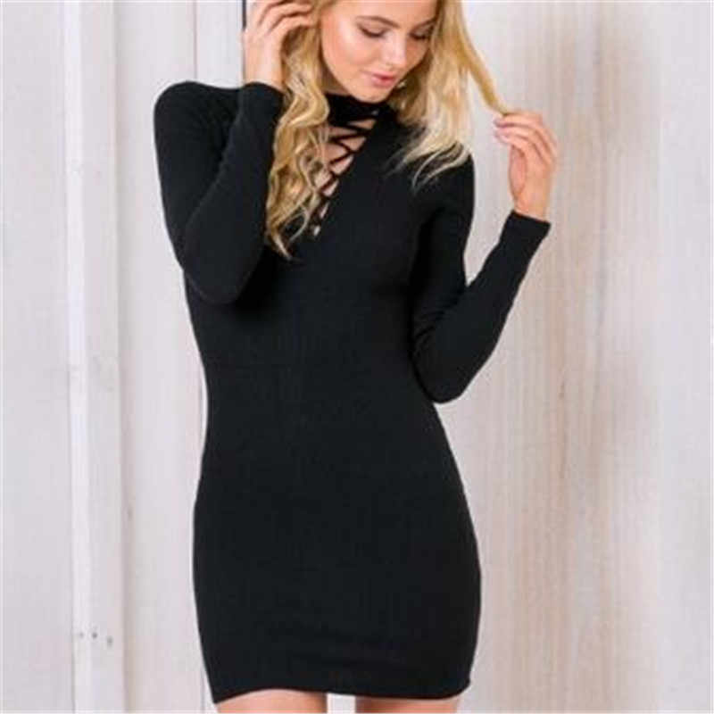5d903fe00d6 ... GLOBAL WAREHOUSE Long Sleeve Sweater Dress Women Winter High Collar  Cross Straps Tight Sexy Bodycon Dresses ...