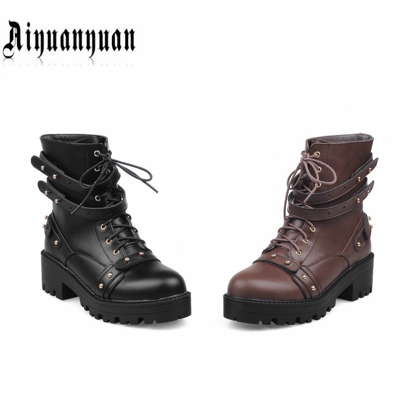 2017 NEW ARRIVAL women boots punk style fashion shoes round toe square heels design PU leather mid-calf boots free shipping only true love new arrival genuine leather women fashion flat heels equestrian snow boots round toe women boots