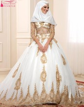 Muslim Long Wedding Dresses Long Sleeves Hijab Lace Sequin Custom Made Bride Bridal Dress Wedding Gown vestidos de noiva