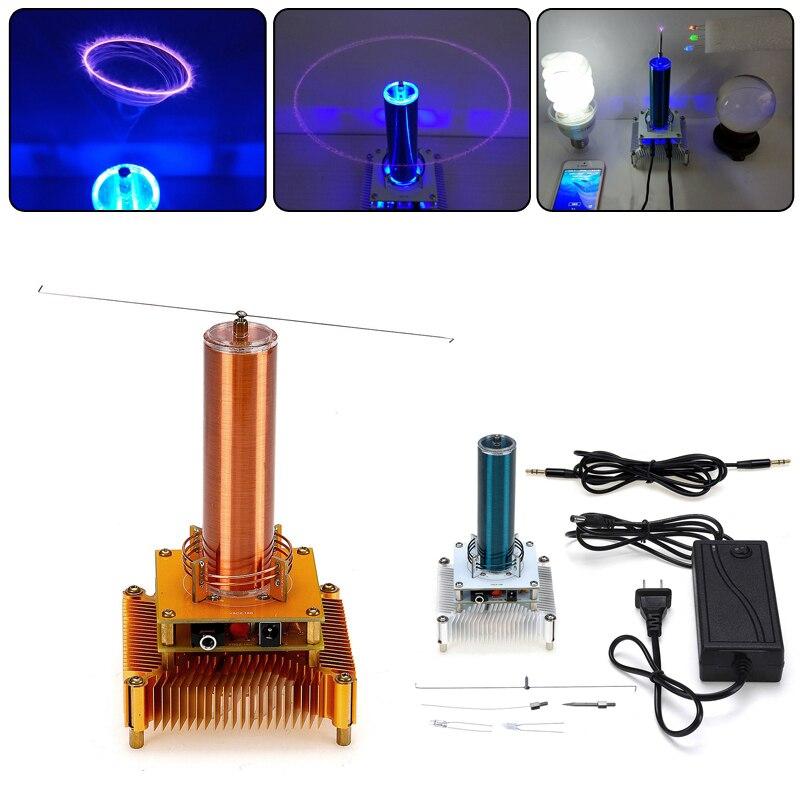 SGDOLL 220 V Tesla bobine Plasma haut-parleur sans fil Transmission son solide puissance UK Plug LED or/argent modèle Action jouets 2019 nouveau