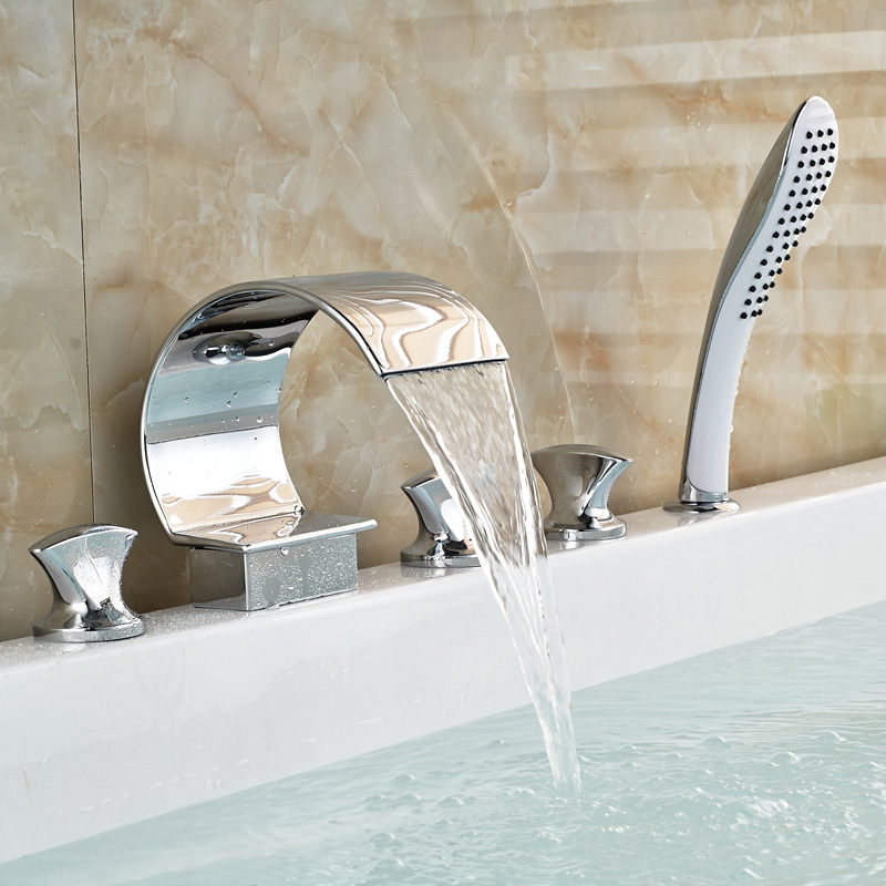 roman tub faucet with sprayer. Waterfall Series 3 Handle Deck Mounted Roman Bathtub Faucet With Handheld  Sprayer In Polished Chrome Shower Faucets From Home Improvement On