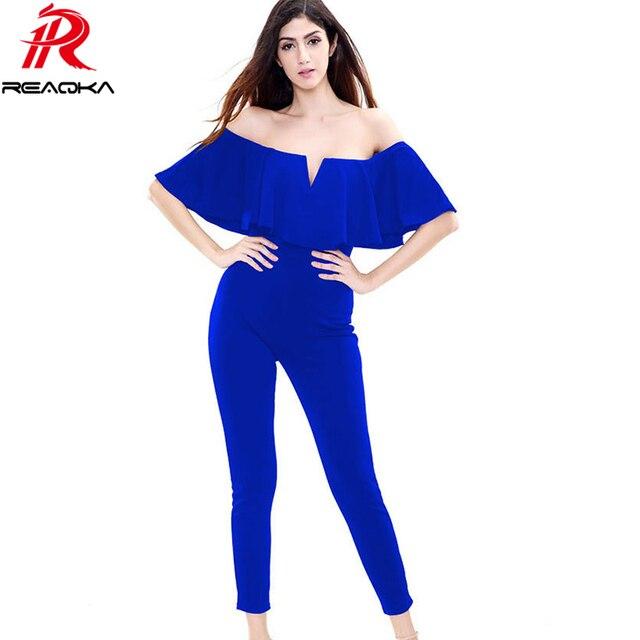 ef4cfc25ea6 Tight mujeres mono pantalones largos elegantes 2016 Nuevas Adquisiciones  Mujer Moda Ropa Llanura Negro Rojo Azul