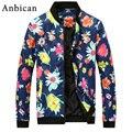 Anbican Moda Floral Chaqueta de Los Hombres 2017 Marca Nueva Primavera y el Verano Slim Fit Mens Casual Varsity Chaquetas y Abrigos Más El Tamaño 4XL
