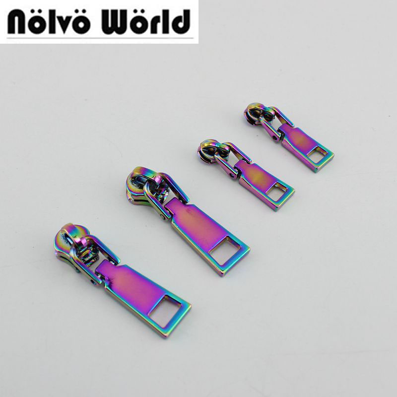 10-50pcs 5# 3# Iridescent Rainbow Metal Nylon Head Teeth Zipper Puller Slider Metal Plating Accessory Bags,garments Fabric