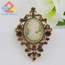 Retro Beauty Queen Head Brooch Pin Gorgeous Fashion Alloy Jewelry Women Ornament Free Shipping Wholesale