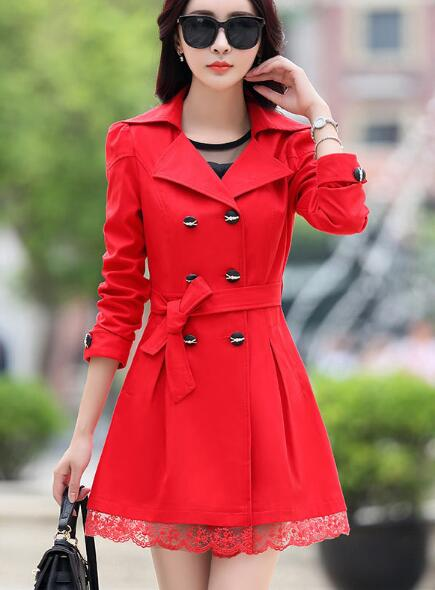 Spring 2019 new, with long sleeve belt, women's sewing loose long   trench   coat