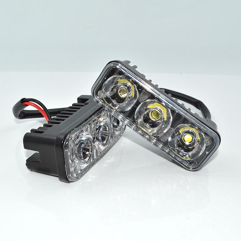 Prix pour Haute Puissance 2 Pcs/ensemble 3 Led 9 W Universal Car Light Source Étanche DC12V DRL Feux Diurnes Auto Lampe blanc