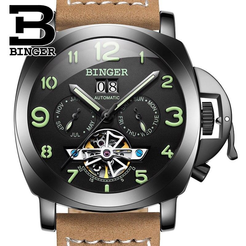 Saatler'ten Mekanik Saatler'de Isviçre lüks erkek saati BINGER saat marka çok fonksiyonlu askeri glowwatch Tourbillon mekanik kol B1170 3'da  Grup 1