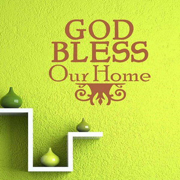 God Bless Our Home Christian Religious Wall Stickers Family Decal ...