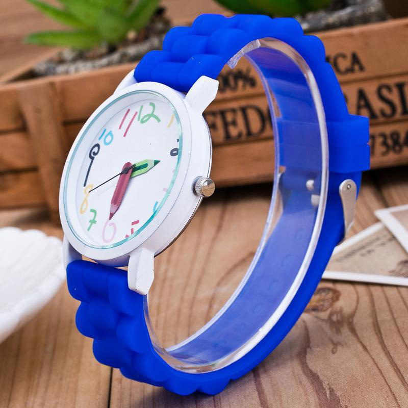 Hot Silicone Watches Children Pencil Pointer Student Watch Quartz Wristwatches Gift Watches SMA66