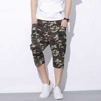 Casual Plus Size Military Army Camouflage Cargo Shorts Pants For Men Side Big Pockets Hip Hop
