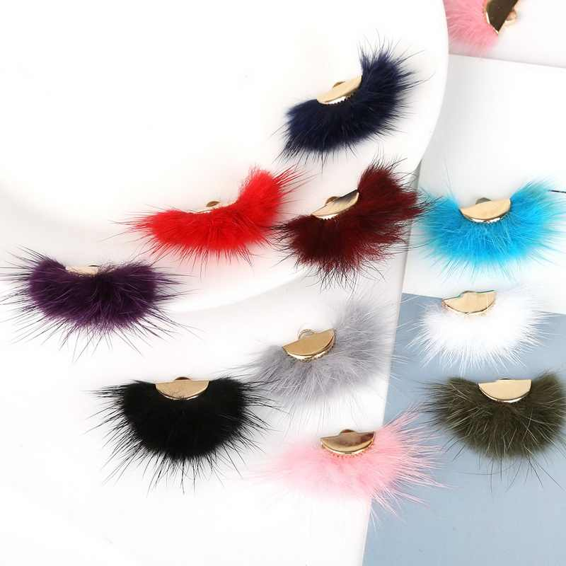 Wholesale 28x20mm 10 Color Fashion Mink Hair Fur Fan Shape Tassel Charm Pendant for DIY Earring Jewelry Findings Making