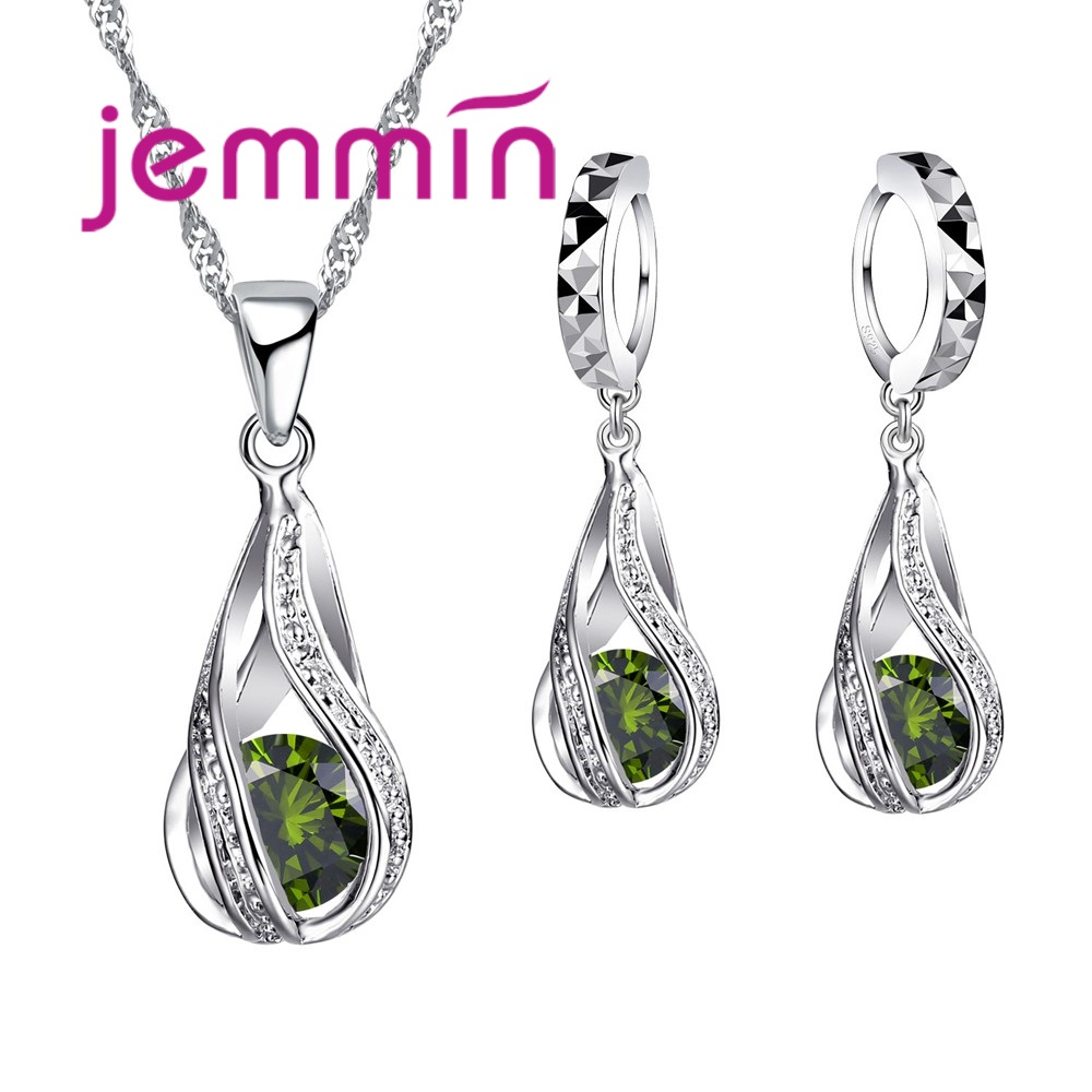 Free Shipping Top Quality 925 Sterling Silver Wedding Party Jewelry Sets Multiple Color Crystals Pendant Necklace Earrings 4