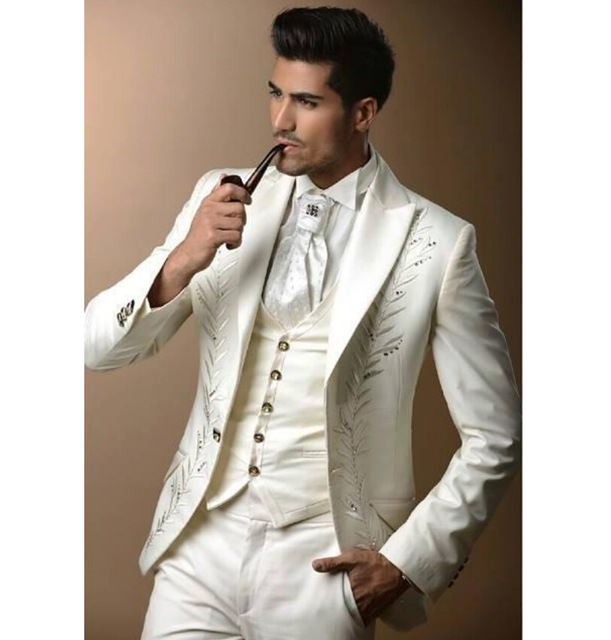 1d79ea615dd6 Custom Made Classic Embroidery White Men s Party Suits Groom Tuxedos  Rhinestones Groomsmen Blazer Suit (Jacket+Pants+Vest+Tie)-in Suits from  Weddings   ...