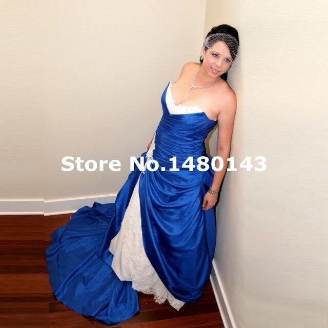 2016 Royal Blue Mermaid Wedding Dress With Beaded Ruffles Bridal Gowns Robe  De Mariage Vestido De Noiva Plus Size 859327c5de44