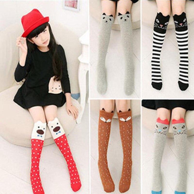 New Spring Autumn Children Socks Cotton 3D Printing Cat Baby Girls Knee Socks Fashion Cartoon Bear Dancing Socks