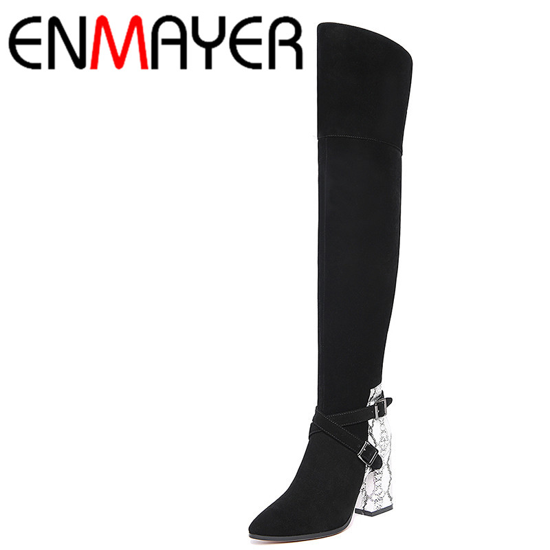 ФОТО ENMAYER New Fashion Over-knee High Boots Women Bukle High Heels Long Boots Sexy Pointed Toe Slip-on Boots Winter Shoes