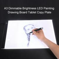 A3 Dimmable Brightness LED Painting Drawing Board Tablet Touch Copy Plate Ultra thin and Light Weight Powered by USB cable