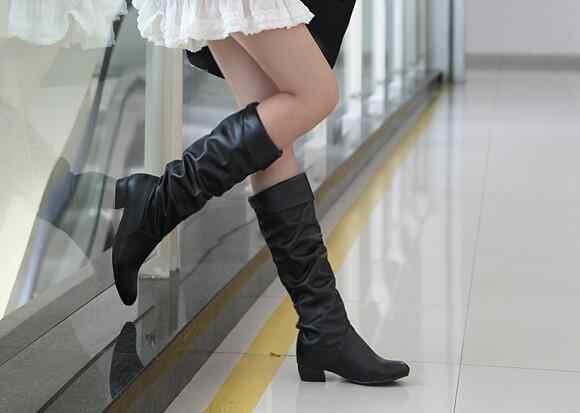 Vrouwen Hakken Laarzen Vrouwelijke Herfst Hoge Laarzen Vrouw 2018 Hot Vrouwen Hoge Laarzen Mode Vrouwen Schoenen Zwart Wit Lederen schoenen