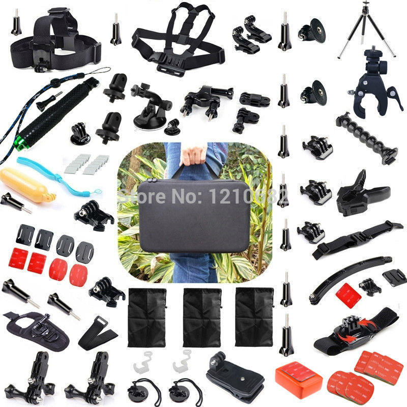 for GOPRO Hero 4 session 3 3+ 2 for xiaomi yi SJCAM Accessories Set Chest Belt+Head Band+Wrist Strap+pole Monopod pj 002 protective silicone case wrist band for gopro hero 3 3 wi fi remote controller blue
