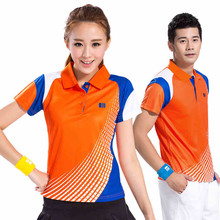Lover's T-Shirt Patchwork Short Sleeves Polo Collar Sport Shirt Quick Dry Tee Badminton Top Suit Man Woman