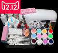 EM-82 Full Pro 9W White Cure Lamp Dryer & 12 Color UV Gel Nail Art Tips Tool Kits Sets  free shipping